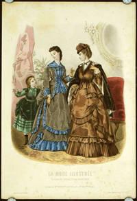 Hand colored engraving from La Mode Illustree.  Toilettes de Mme. Breant-Castel, 28.r. Nue des Pts Champs
