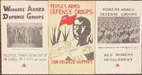 image of Workers armed defense groups [together with] People's armed defense groups [and] Womens armed defense groups [three posters]