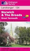 image of Norwich and the Broads, Great Yarmouth (Landranger Maps)