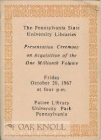 University Park, PA: Pattee Library, 1967. foldout, facsimile bound in stiff paper wrappers laid in....