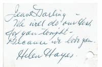 AUTOGRAPH NOTE SIGNED BY HELEN HAYES TO CITY CENTER PRODUCER JEAN DALRYMPLE.
