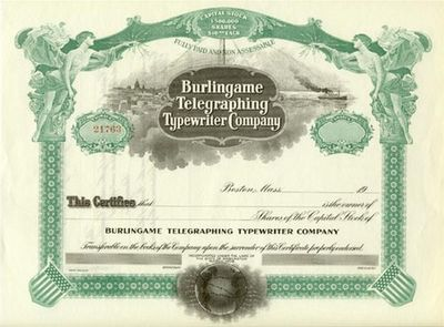 No date, Boston. An unissued and uncancelled Burlingame Telegraphing Typewriter Company stock. There...