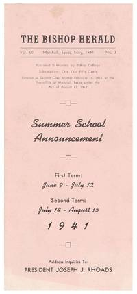 The Bishop Herald. Vol. 60 No. 3 Summer School Announcement