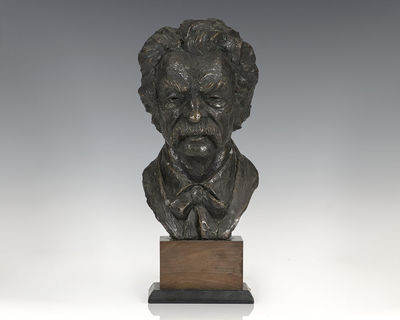 1966. Sculptural bust of the wild-haired American author by Thomas Holland. Faux antique bronze, mou...