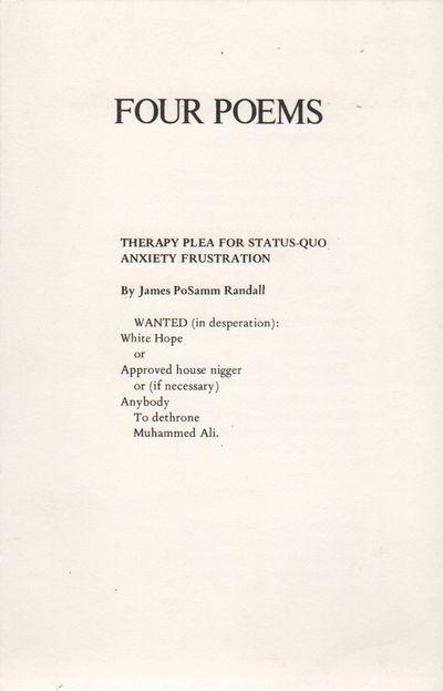 Detroit: Broadside Press, 1972. First Edition. Near fine. 8vo. Broadside printed recto/verso, folded...