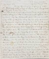 REPORT FROM THE U.S. SHIP SARATOGA, AT SEA PATROLLING THE AFRICAN COAST TO ENFORCE THE LAWS FOR THE SUPPRESSION OF THE SLAVE TRADE IN 1844. AUTOGRAPH LETTER, SIGNED FROM THE PURSER HORATIO BRIDGE TO HON. JOHN FAIRFIELD, U.S. SENATE, WASHINGTON, D.C.