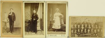 A group of five photographs, four of them cartes de visite and one a mounted picture about the size ...