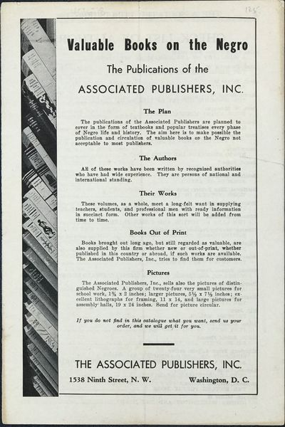 Washington, DC: The Associated publishers, 1955. Catalogue of the publisher's offerings. 8vo. 15 pp....