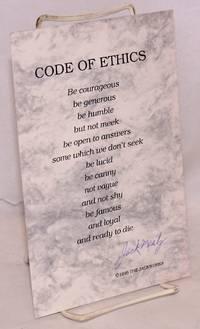 Code of ethics; signed broadside