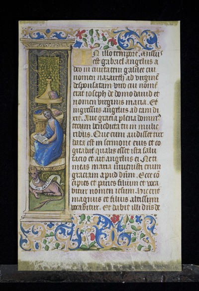 Double Illuminated Manuscript Leaf With Miniature of St. Luke and the Gospel in which the Angel Gabr...