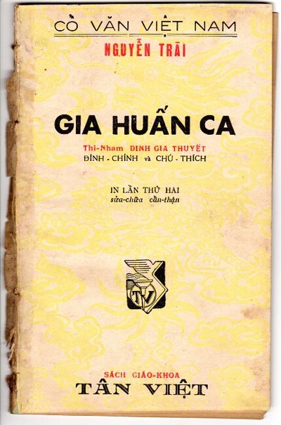 : Tân Viet, 1953. First edition, 8vo, pp. 49, ; toned throughout, occasional dampstaining, extremit...
