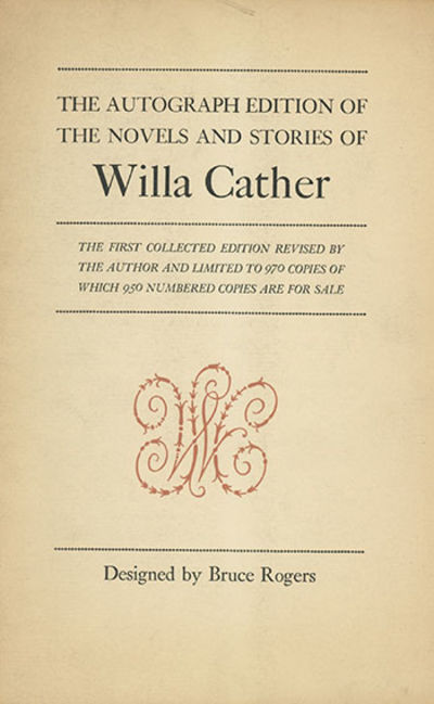 Boston: Houghton Mifflin, 1937-41, 1937. First collected edition, first issue, number 416 of 970 num...