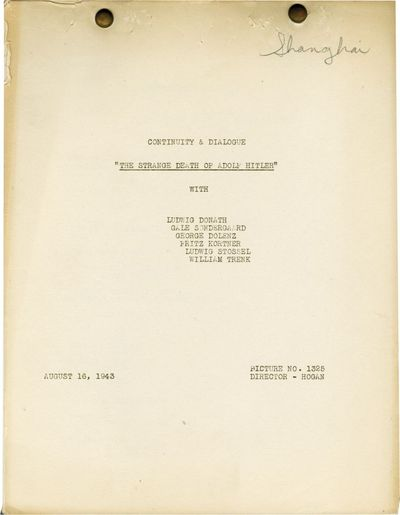 Universal City, CA: Universal Pictures, 1943. Post-production Continuity and Dialogue script for the...