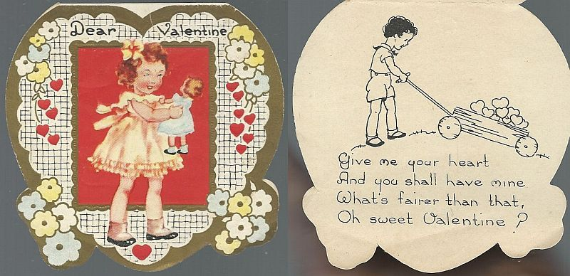 HEART SHAPED VICTORIAN VALENTINE WITH GIRL AND HER DOLL, Valentine