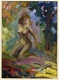 1940. Unbound. Original oil painting. Oil paint on cardboard, image size 6 by 8 1/4 inches, matted i...