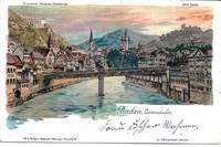 image of Limmatufer, Limmat River Zürich, Baden, Switzerland on 1903 Undivided Reverse Postcard