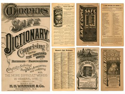 Rochester, NY: H. H. Warner & Co., 1889. Edge chips front cover.. 32 pp. combination dictionary and ...
