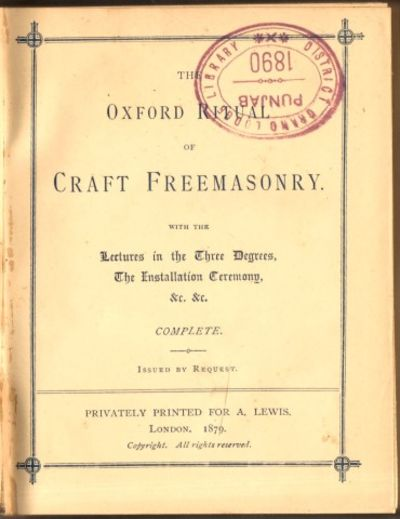 The oxford ritual of craft freemasonry with the lectures for Masonic craft ritual book