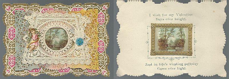 VICTORIAN VALENTINE CARD WITH LANDSCAPE, Valentine