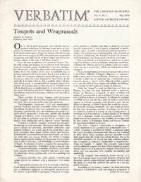Verbatim: The Language Quarterly: Five Issues: May 1977; May 1978; Summer 1979; Winter 1979/80; Spring 1980