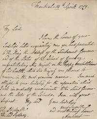 Jeffery Amherst autographed signed letter (ASL) to Lord Sydney