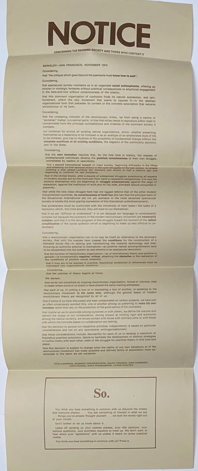 Berkeley, CA: the authors, 1974. 9.5x25 inch broadside, folded into four parts, printed sepia on gre...