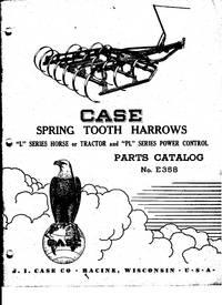Case Horse or Tractor Spring Tooth Harrows - Original - Parts Catalog No. E358 - Collectible!
