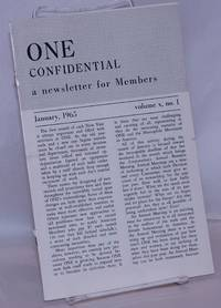 image of One Confidential: a newsletter for members andindex of One Magazine volume 10; vol. 10, #1, January, 1965