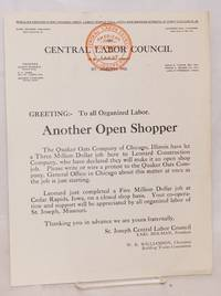 Greeting: To all organized labor. Another Open Shopper [handbill]