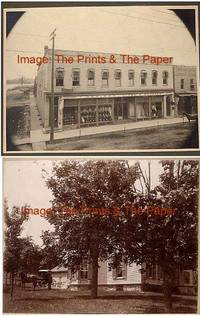 HARTFORD, WISCONSIN: 2 Cabinet Card Photos of Dennison, Liver and Coerper Building, John Pierpont Denison Home, Ephemera