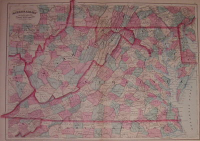 New York: Asher & Adams, 1874. unbound. very good. Map. Engraving with original hand coloring. Image...
