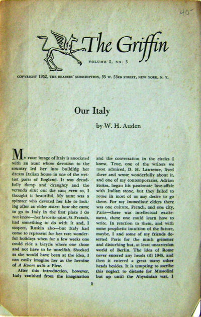 New York: Reader's Subscription, 1952. First edition. Paperback. Very Good. Volume 1 Number 5 of thi...