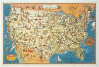 A good-natured map of the United States setting forth the services of The Greyhound Lines and a few principal connecting bus lines.