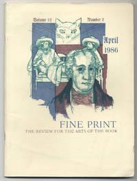 image of Fine Print: Volume 12, Number 2, April, 1986