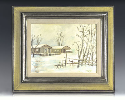Rare Dwight D. Eisenhower oil painting of Eisenhower's country retreat, Camp David, in the snow. Oil...