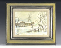 Dwight D. Eisenhower Camp David in Snow Painting.