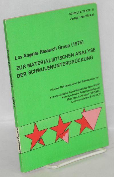 Berlin: Vewrlag Rosa Winkel, 1977. Paperback. 82p., text in German, very good trade paperback in wra...
