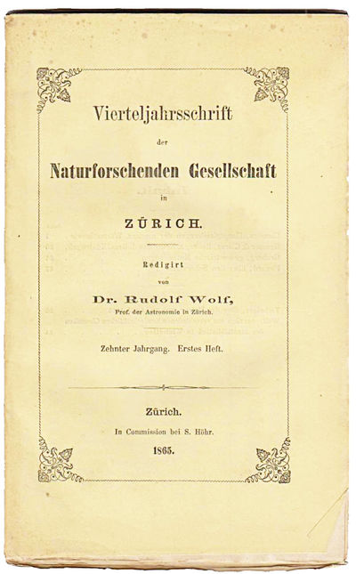 Zurich: Jahrgang, Erstes Heft, 1865. First edition. Original wrappers. Very Good. FIRST EDITION IN S...