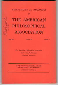 Proceedings and Addresses of the American Philosophical Association May 1981, Volume 54, Number 5