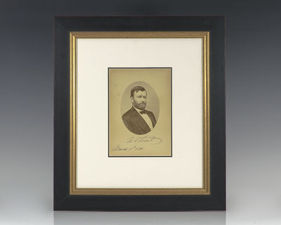 Rare original Mathew Brady photograph of Ulysses S. Grant. Boldly signed by Grant as the 18th Presid...