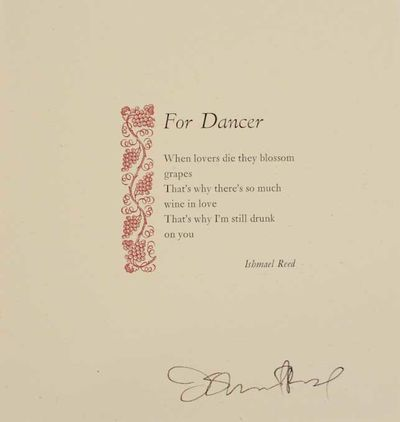 Port Townsend, WA: Copper Canyon Press, 1984. First edition. Broadside printed in two colors and mea...