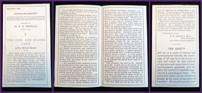 New York, NY, . General wear. . A single-fold brochure announcement of a medical society Monell was ...