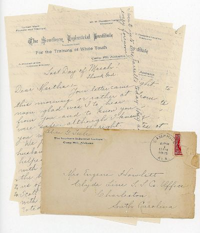 Camp Hill, ALA, 1915. Two letters from Alice G. Teele, an instructor at The Southern Industrial Inst...