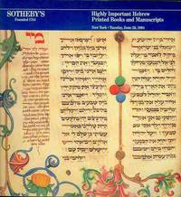 Highly Important Hebrew Books and Manuscripts (June 26, 1984)