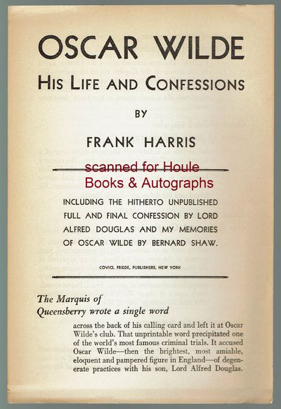 ca. 1930. Publisher's four page sales brochure with order form for the Frank Harris book. Very good....