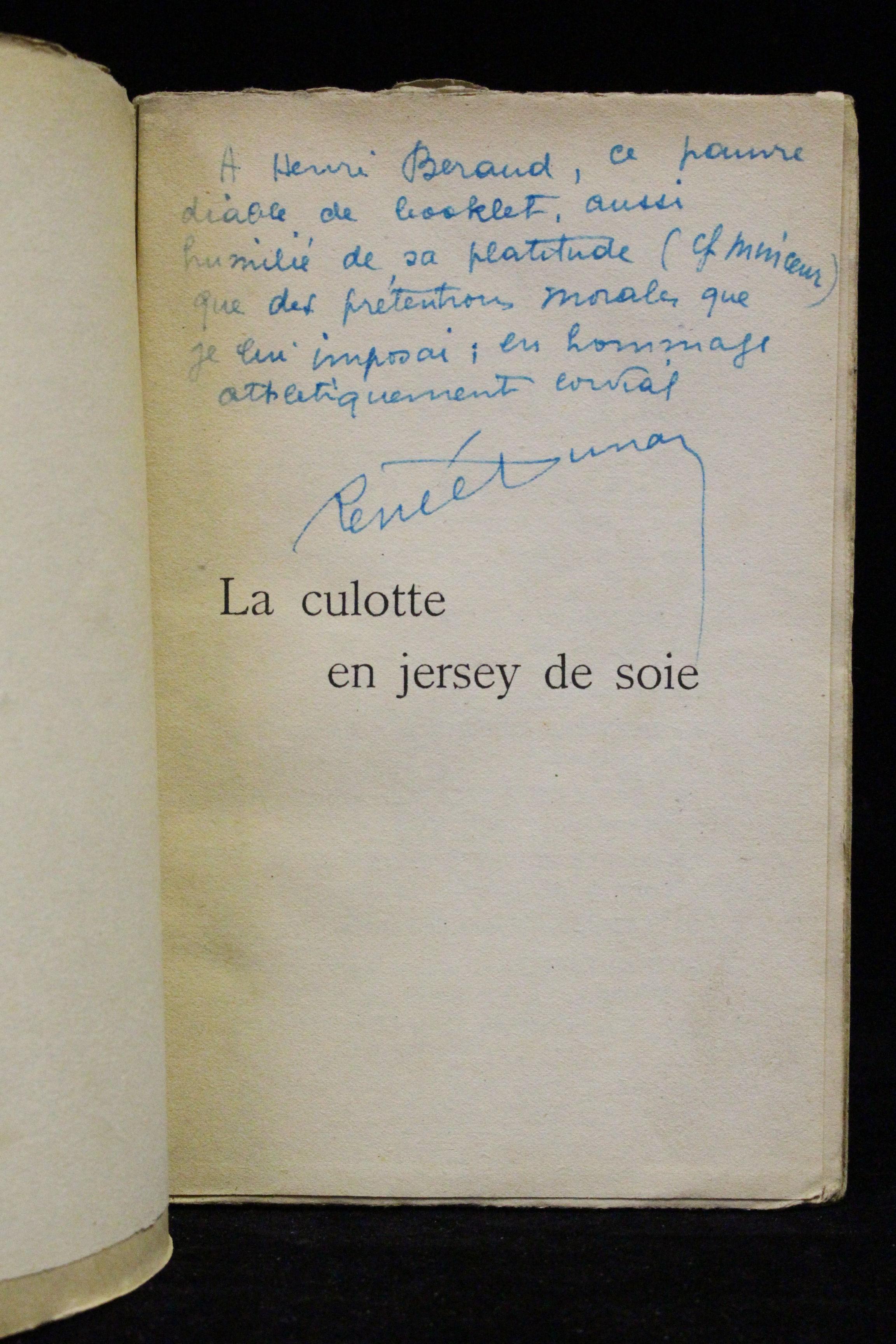 la culotte en jersey de soie edition originale envoi autographe by dunan ren e signed first. Black Bedroom Furniture Sets. Home Design Ideas