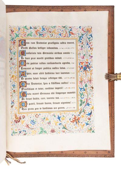1895. Full leather folder. Near fine.. Quarto. Single sheet of white vellum folded, with calligraphy...