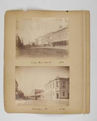 Four original albumen paper photographs mounted on one sheet of card from a loose-leaf album. They are numbered and captioned on the mount - No. 10: General Post Office. No. 12: King William St. No. 14: King William St. No. 16: Rundle St