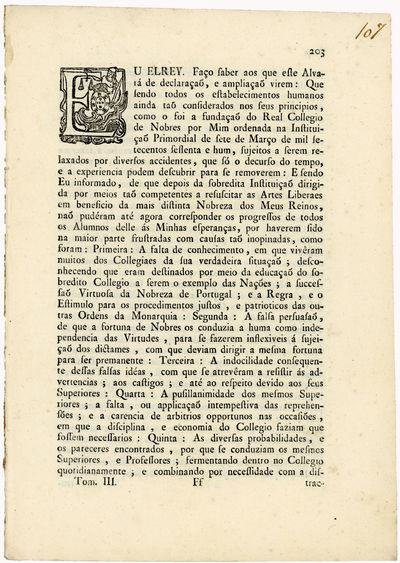 [Two documents on 18th c. educational...
