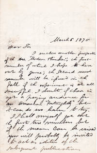 image of A 3-PAGE AUTOGRAPH LETTER SIGNED BY THE POSITIVIST JOURNALIST DAVID GOODMAN CROLY, Addressed to the American Philosopher and Historian JOHN FISKE.